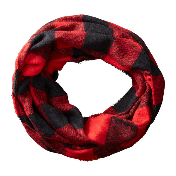 Wholesale Boutique Gifts - Black & Red Buffalo Check Infinity - Tickled Pink