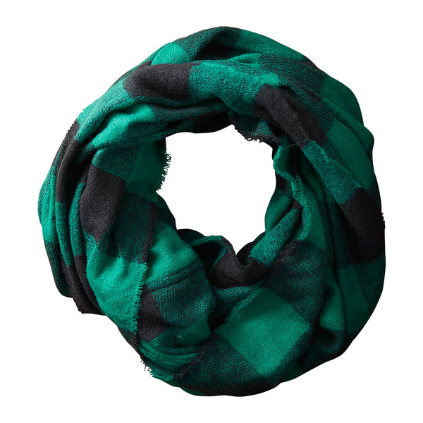 Green & Black Buffalo Check Infinity - Tickled Pink Wholesale