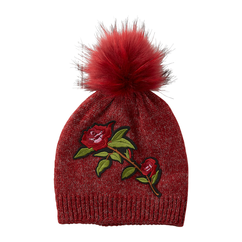 Ruby Embellished Rose Beanie - Tickled Pink Wholesale