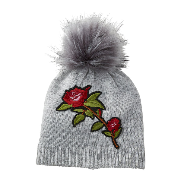 Gray Embellished Rose Beanie