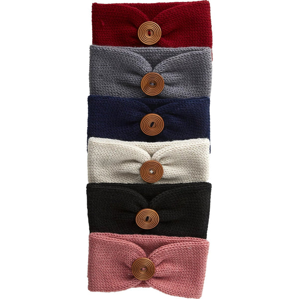 Wholesale Boutique Gifts - Button Headbands - Mixed 12 Pack - Tickled Pink