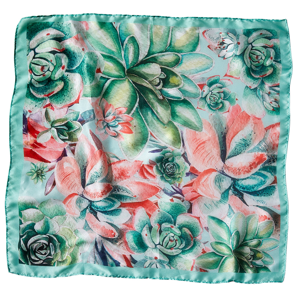 "Succulent Garden Lola Square Scarf - 21.5"" x 21.5"" - Tickled Pink Wholesale"