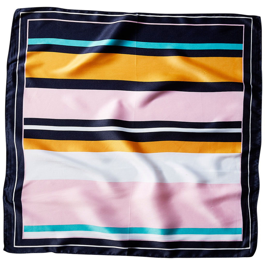 "Cabana Stripes Lola Square Scarf - 21.5"" x 21.5"" - Tickled Pink Wholesale"