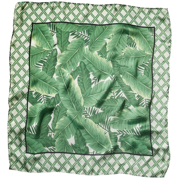 "Bamboo & Palms Lola Square Scarf - 21.5"" x 21.5"" - Tickled Pink Wholesale"
