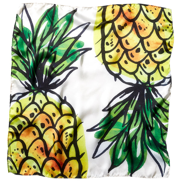 "Summer Pineapple Lola Square Scarf - 21.5"" x 21.5"" - Tickled Pink Wholesale"