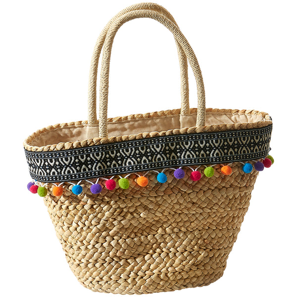 Ava Pom Pom Straw Bag - Tickled Pink Wholesale
