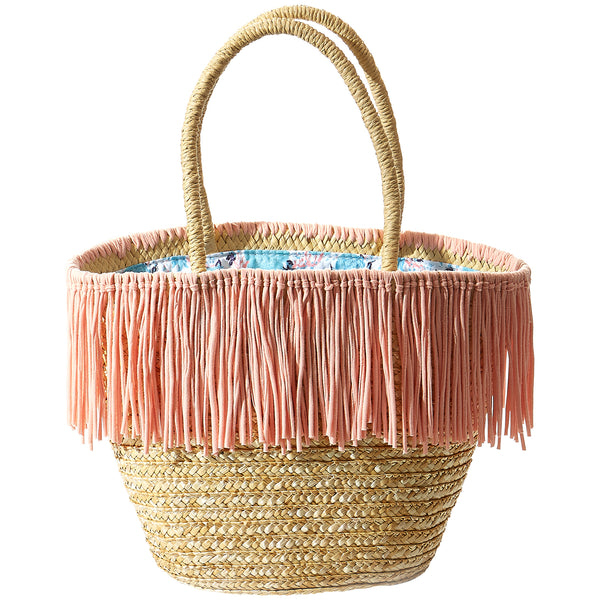 Wholesale Boutique Gifts - Maya Pink Fringe Straw Bag - Tickled Pink
