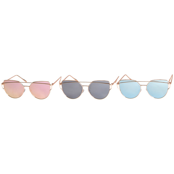 Wholesale Boutique Gifts - Roxy Mirror Polarized Cat Eye Sunglasses 3 Pack - Tickled Pink