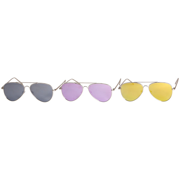 Wholesale Boutique Gifts - Murphy Mirror Polarized Aviator Sunglasses 3 Pack - Tickled Pink