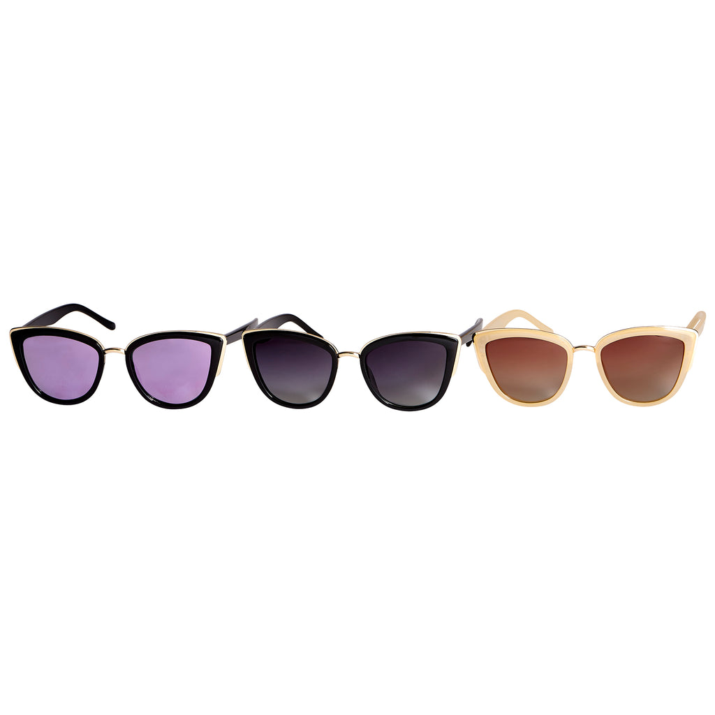 Kristin Polarized Cat Eye Sunglasses 3 Pack - Tickled Pink Wholesale