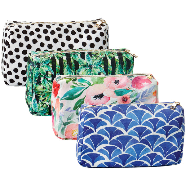 Wholesale Boutique Gifts - Large Makeup Bag 4 Pack - Tickled Pink
