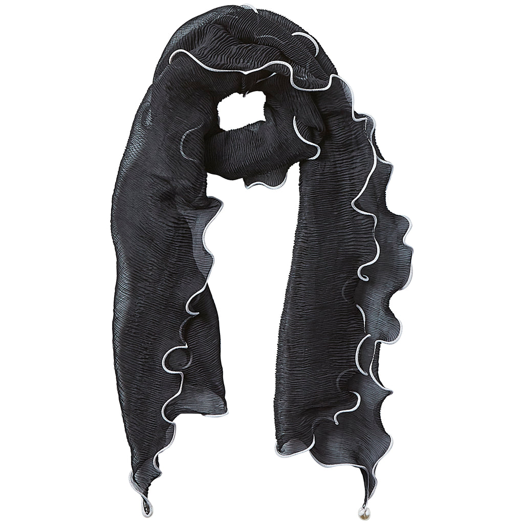 Black Penny Ruffle Scarf - Tickled Pink Wholesale