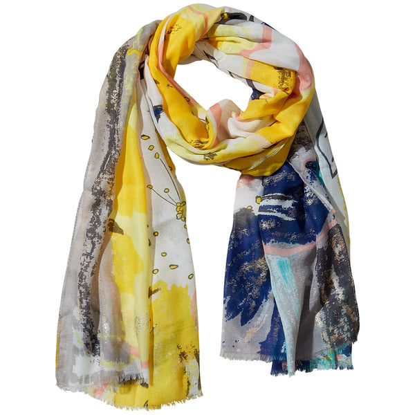 Yellow Golden Summer Floral Scarf