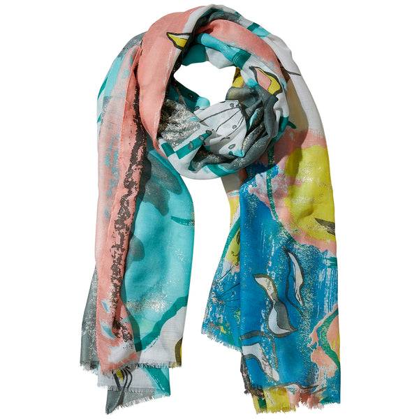 Wholesale Boutique Gifts - Pink Golden Summer Floral Scarf - Tickled Pink