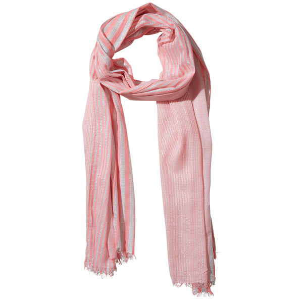 Wholesale Boutique Gifts - Coral Shimmer Stripe Scarf - Tickled Pink