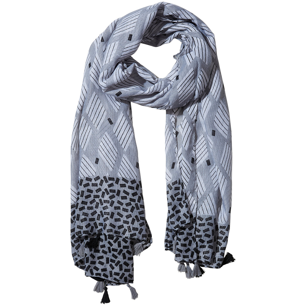 Gray Cross Hatch Fringe Scarf - Tickled Pink Wholesale