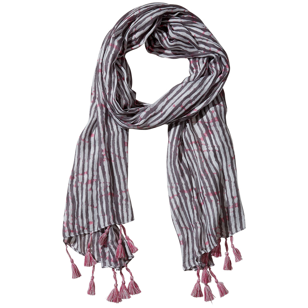 Gray Long Stripe Finge Scarf - Tickled Pink Wholesale