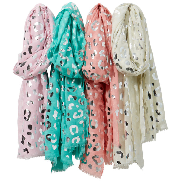 Wholesale Boutique Gifts - Silver Leopard Print Scarf Mixed 4 Pack - Tickled Pink