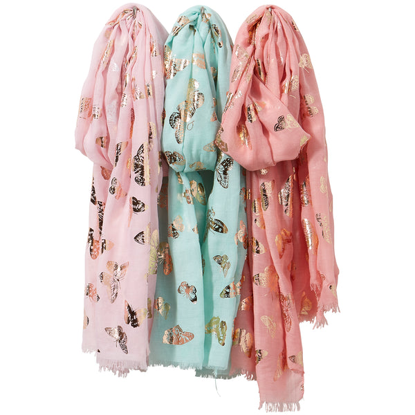 Wholesale Boutique Gifts - Gold Butterflies Scarf Mixed 3 Pack - Tickled Pink