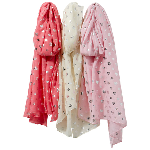 Wholesale Boutique Gifts - Silver Hearts Scarf Mixed 3 Pack - Tickled Pink