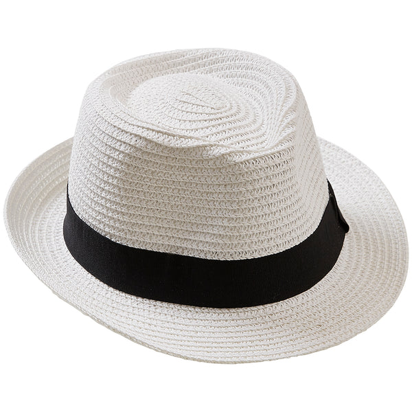 Wholesale Boutique Gifts - White Stripe Beach Fedora - Tickled Pink