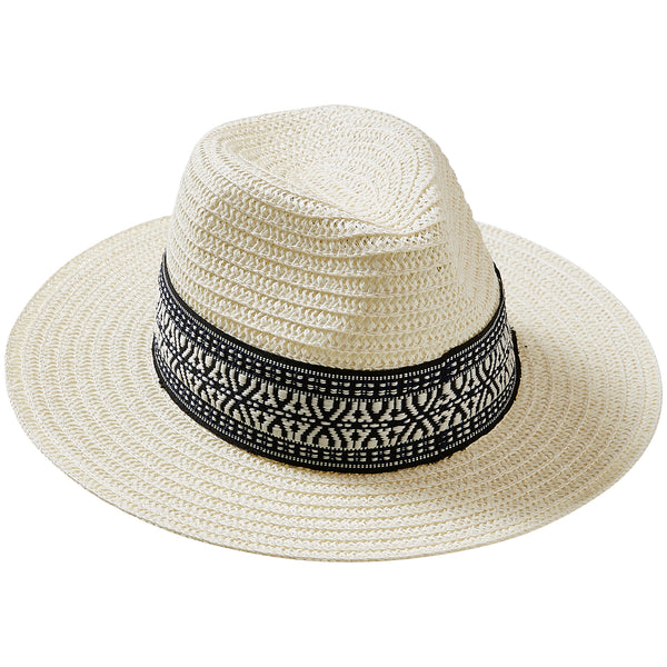 Wholesale Boutique Gifts - White Carson Panama Hat - Tickled Pink