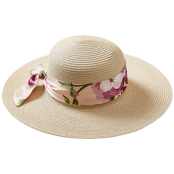 Wholesale Boutique Gifts - Sweet Spring Floral Cape Cod Floppy Hat - Tickled Pink