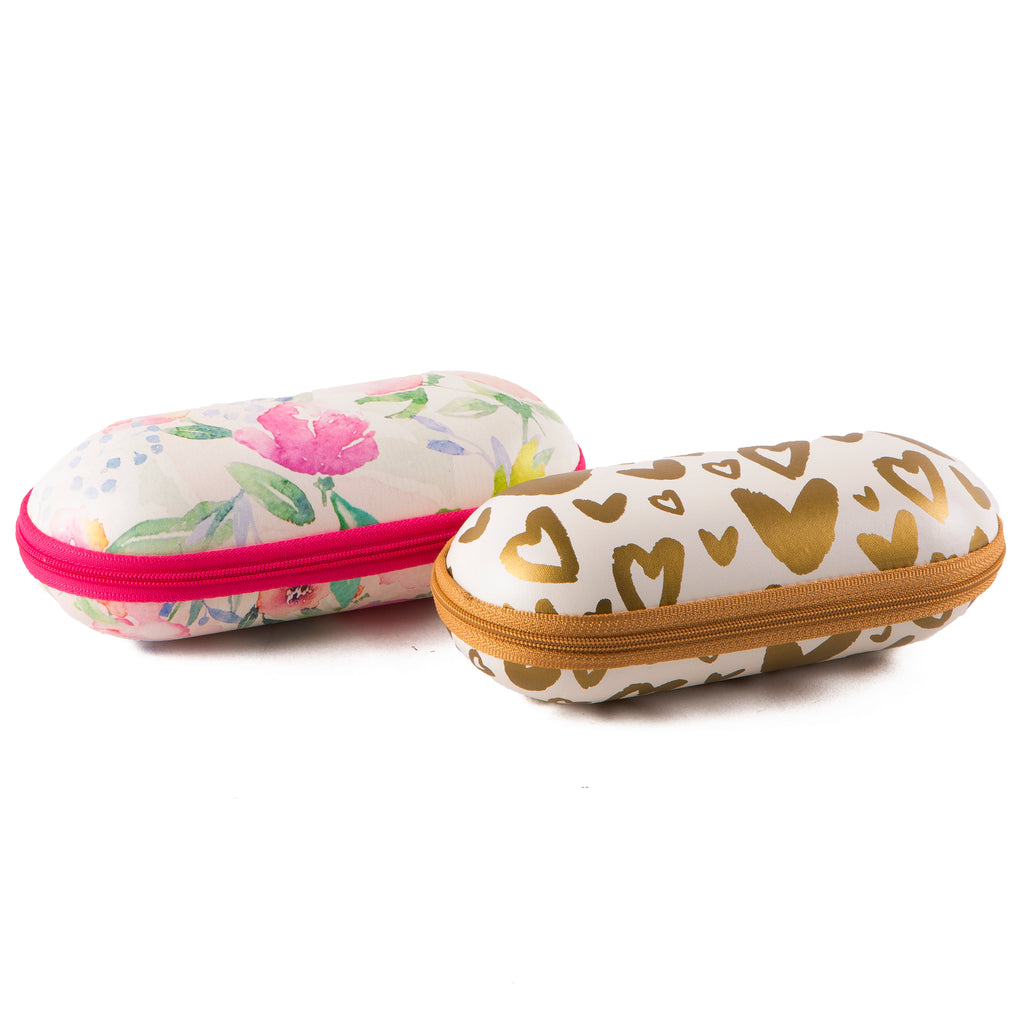 Floral & Gold Hearts Sunglasses Case 4 Pack - Tickled Pink Wholesale