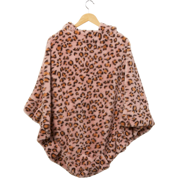 Pink Stella Fuzzy Leopard Poncho - Tickled Pink Wholesale