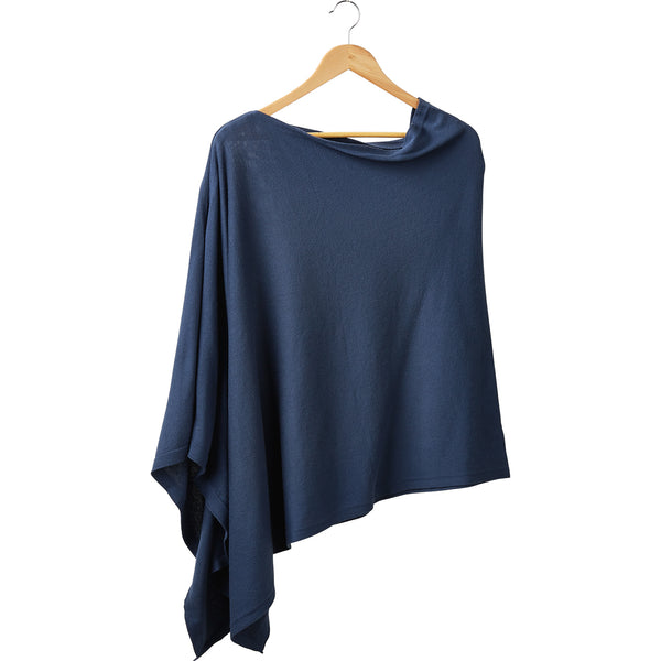 Elegant Solid Cotton Poncho - Slate Blue - Tickled Pink Wholesale