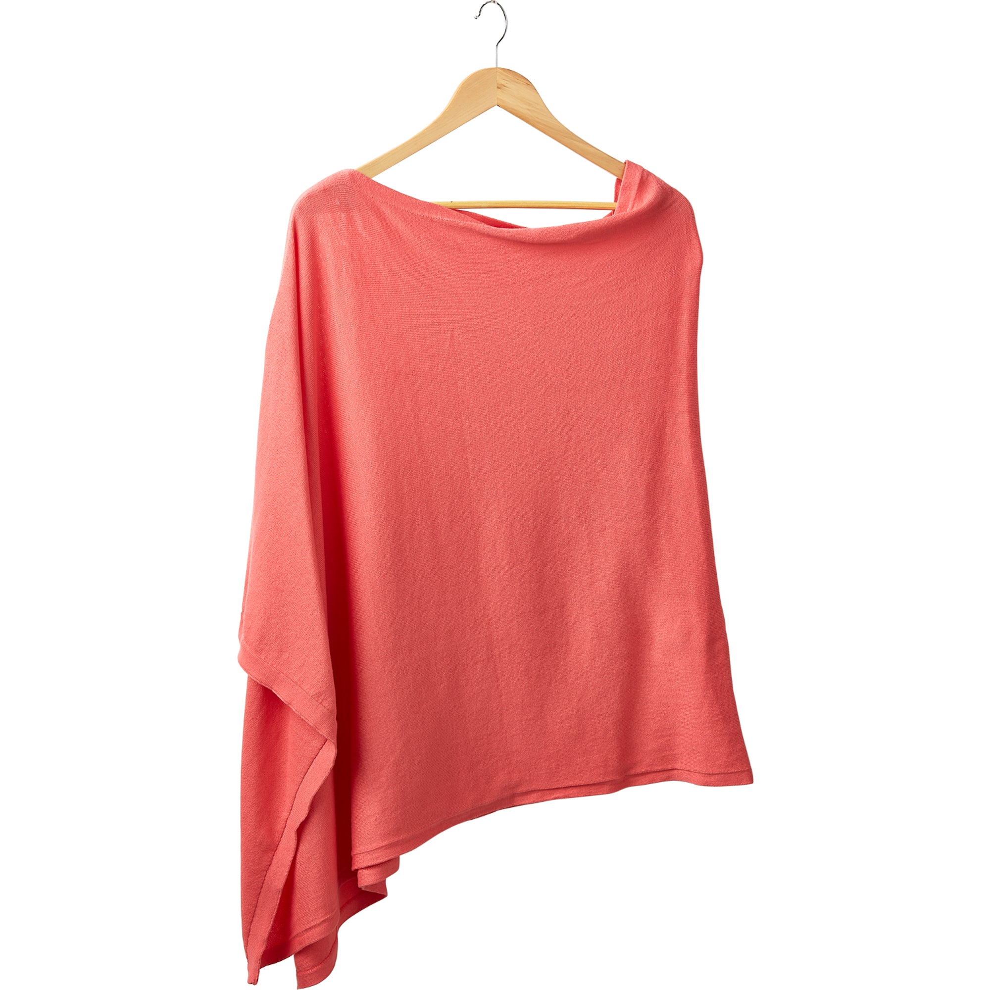 Elegant Solid Cotton Poncho - Coral
