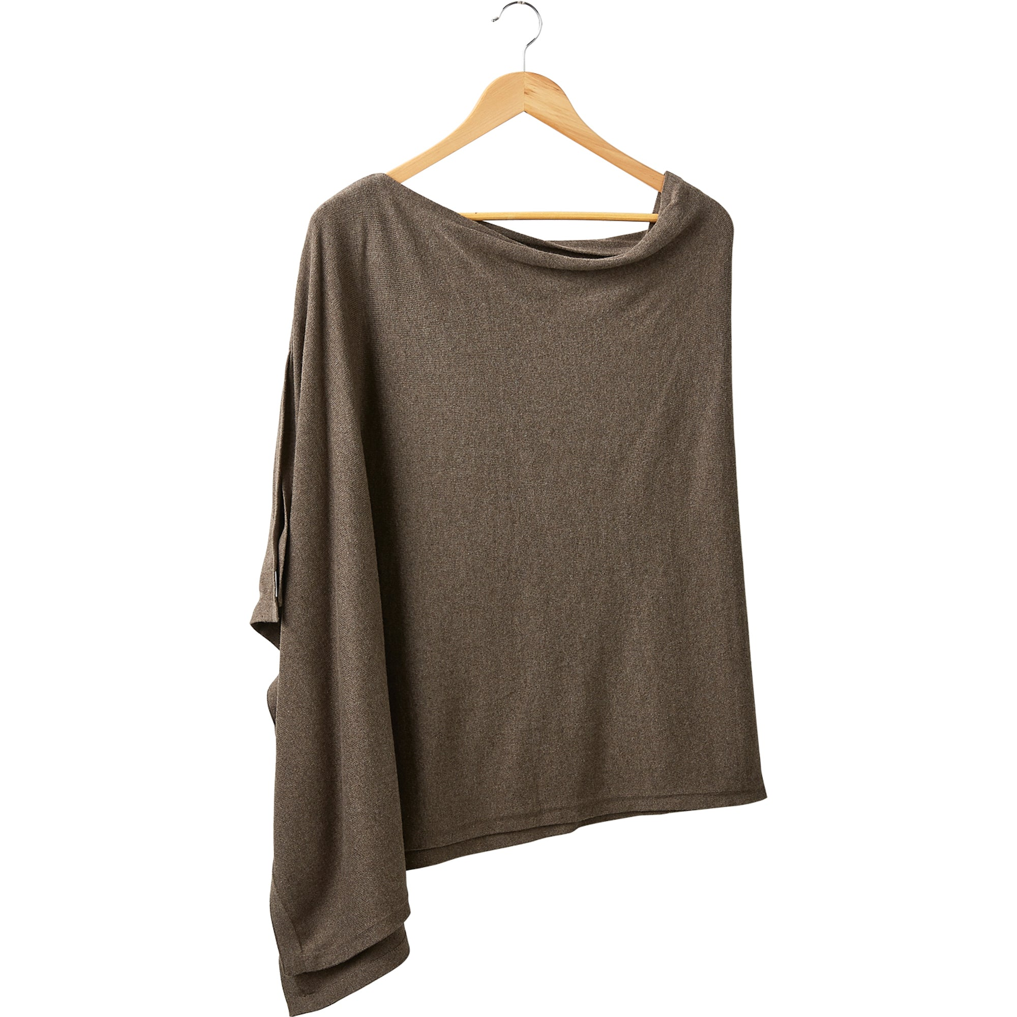 Elegant Solid Cotton Poncho - Taupe