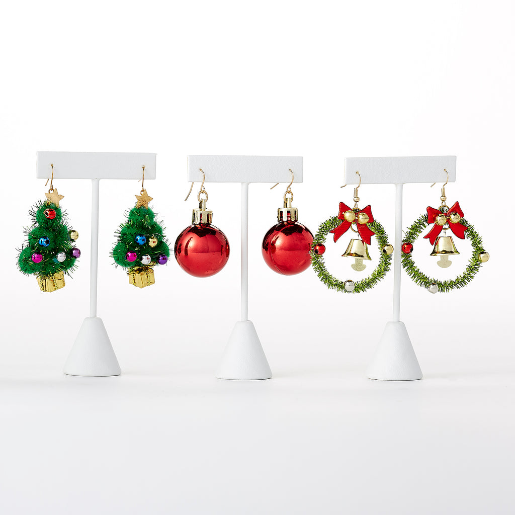 Christmas Dangle Earrings Mixed 6 Pack - Tickled Pink Wholesale