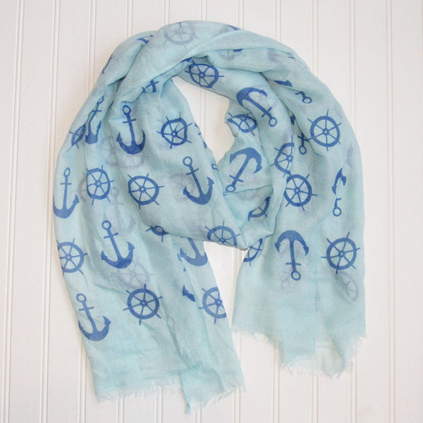 Wholesale Scarves - Lightweight Anchors Scarf - Aqua - Tickled Pink