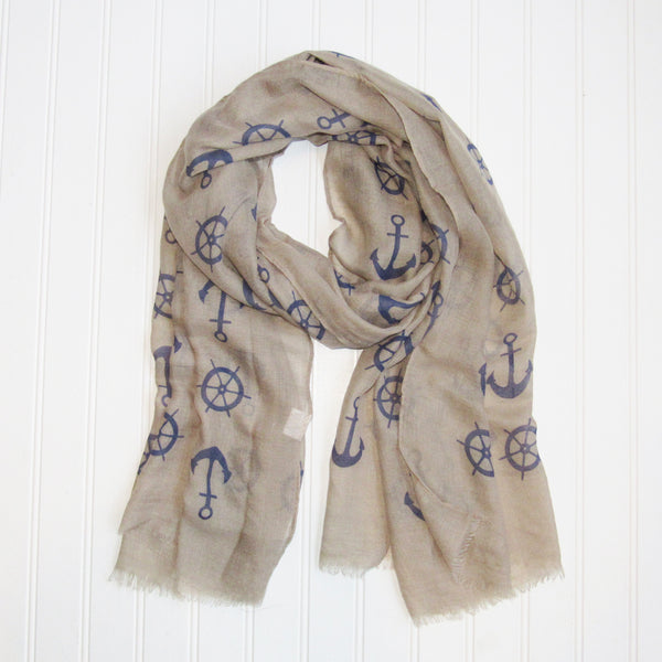 Wholesale Scarves - Lightweight Anchors Scarf - Beige - Tickled Pink