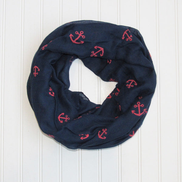 Wholesale Scarves - Anchors Away Infinity - Navy/Red - Tickled Pink