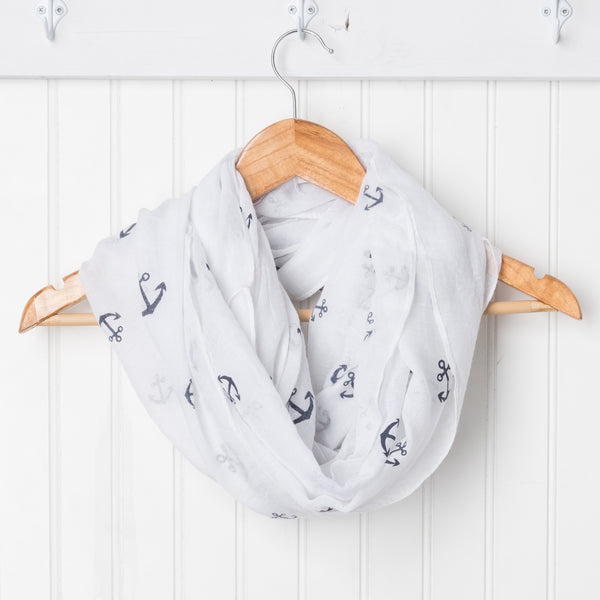 Wholesale Scarves - Anchors Away Infinity - White/Navy - Tickled Pink