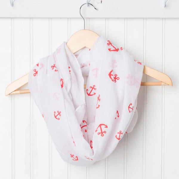 Wholesale Scarves - Anchors Away Infinity - White/Red - Tickled Pink