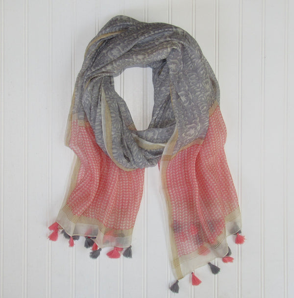 Wholesale Scarves - Badra Scarf with Tassels - Gray - Tickled Pink