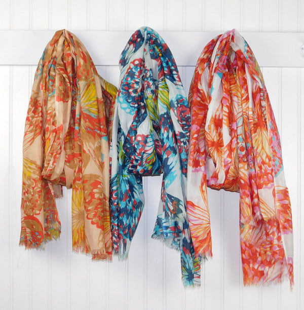Wholesale Scarves - Vibrant Spring Butterflies Assortment - Tickled Pink