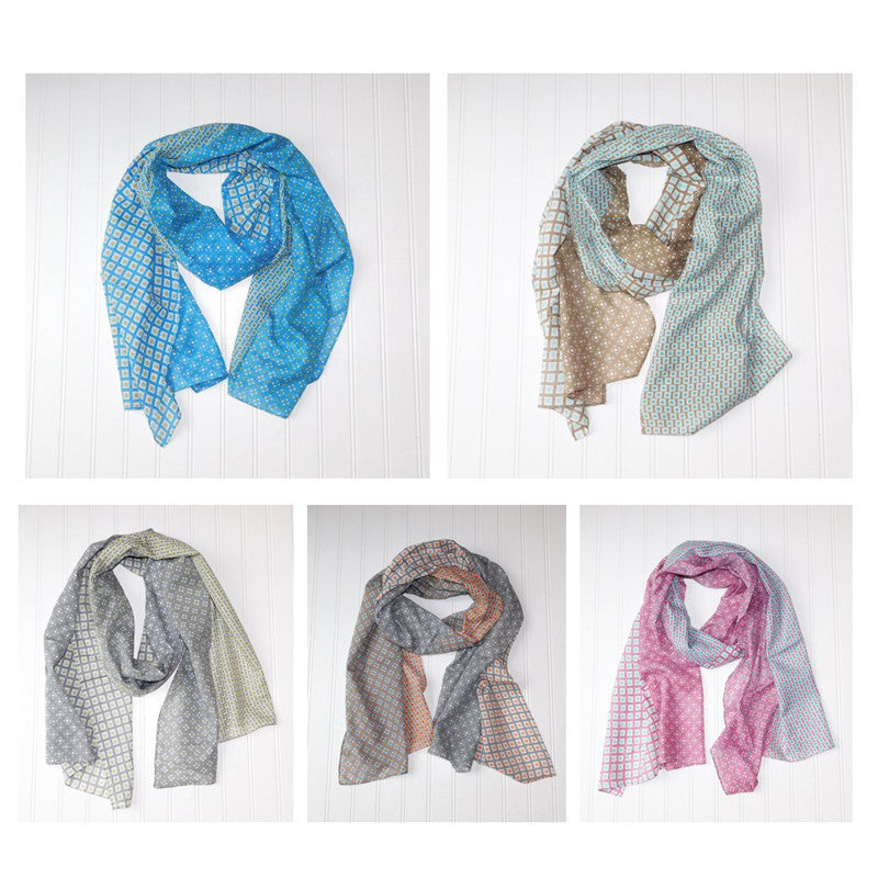 Wholesale Scarves - Chloe Geo Floral Scarf Assortment - Tickled Pink