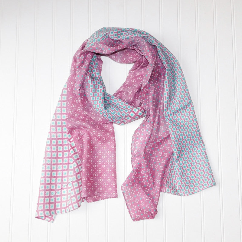 Chloe Geo Floral Scarf - Pink - Tickled Pink Wholesale
