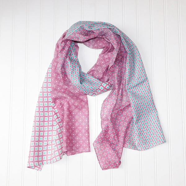 Wholesale Scarves - Chloe Geo Floral Scarf - Pink - Tickled Pink