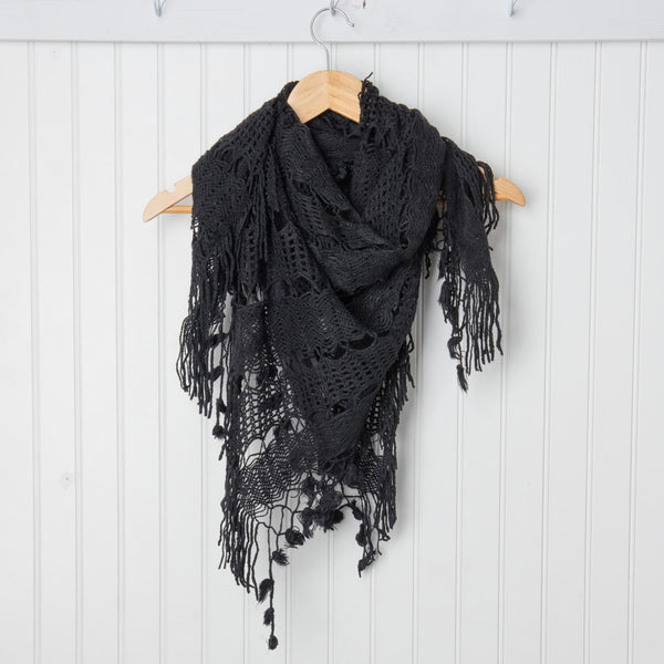 Wholesale Scarves - Crochet Triangle Wrap - Black - Tickled Pink