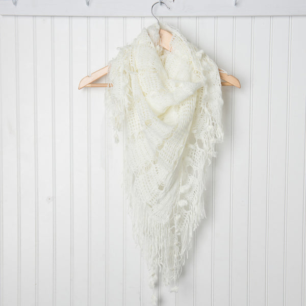 Wholesale Scarves - Crochet Triangle Wrap - White - Tickled Pink