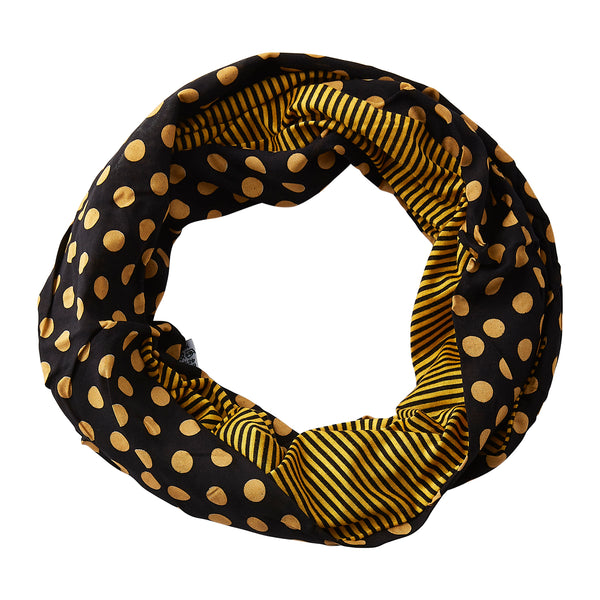 Wholesale Boutique Gifts - Dots & Stripes Infinity - Black Gold - Tickled Pink