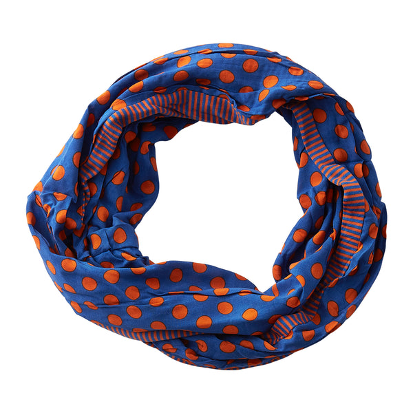 Wholesale Boutique Gifts - Dots & Stripes Infinity - Blue Orange - Tickled Pink