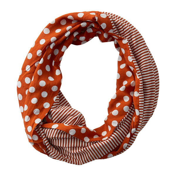 Wholesale Boutique Gifts - Dots & Stripes Infinity - Burnt Orange - Tickled Pink
