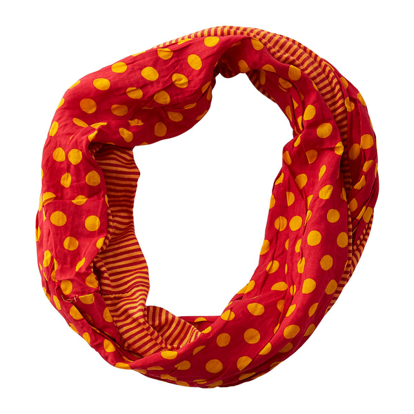 Wholesale Boutique Gifts - Dots & Stripes Infinity - Maroon Orange - Tickled Pink