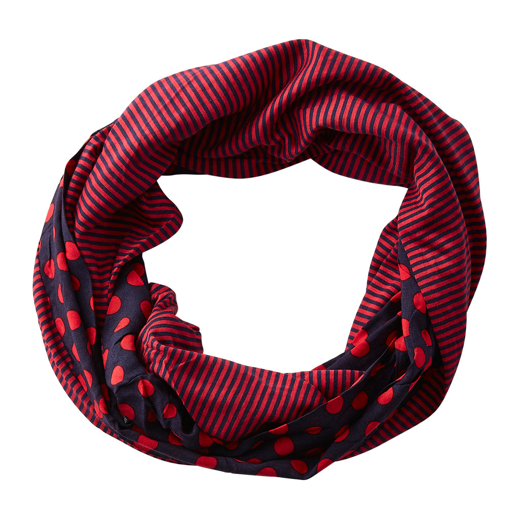 Dots & Stripes Infinity - Navy Red - Tickled Pink Wholesale